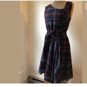 Anthro & Essylte Plaid Navy Red Dress  Asymmetric